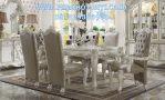 Set Meja Makan Putih Mewah Model Kursi Jok Ukir
