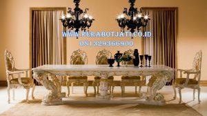 Meja Makan Ukir Klasik White Gold
