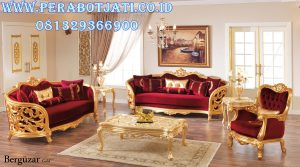 Set Kursi Sofa Mewah Red Gold