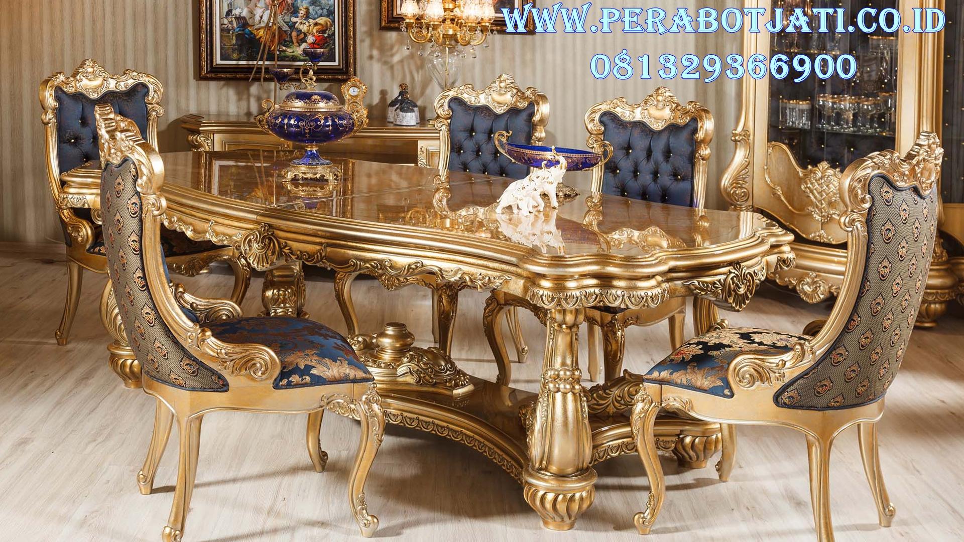 Set Meja Makan Gold Ukiran Klasik Victoria