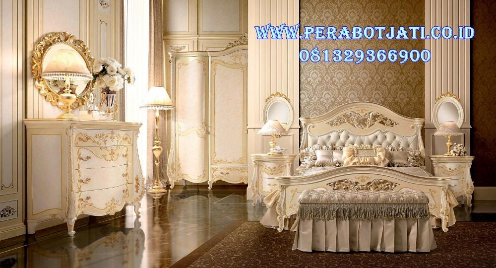 Set Tempat Tidur Klasik Ukir Gold Mewah
