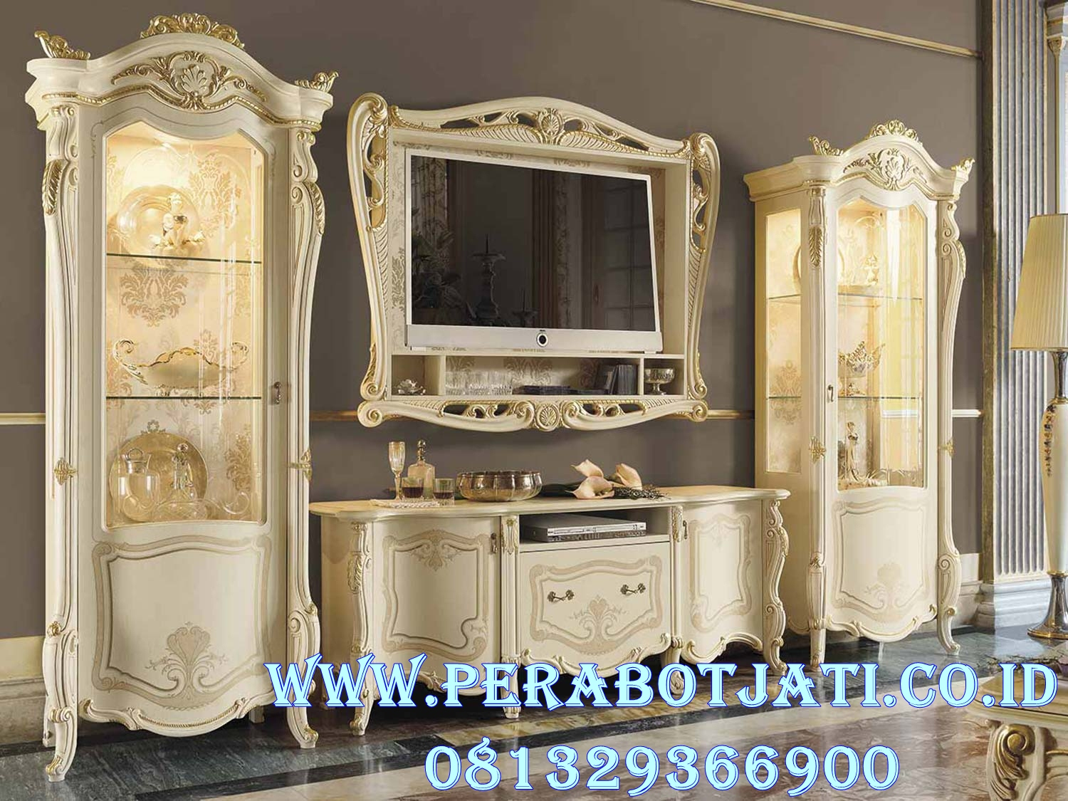 Set Bufet Tv Gold Ukir Klasik Italian