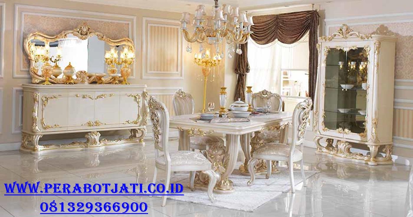 Meja Makan With Lemari Hias Mewah Ukir Klasik