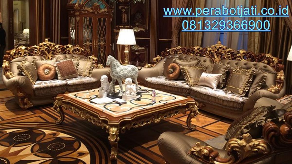 Desain Kursi Tamu Istana Mewah Ukir Luxurious