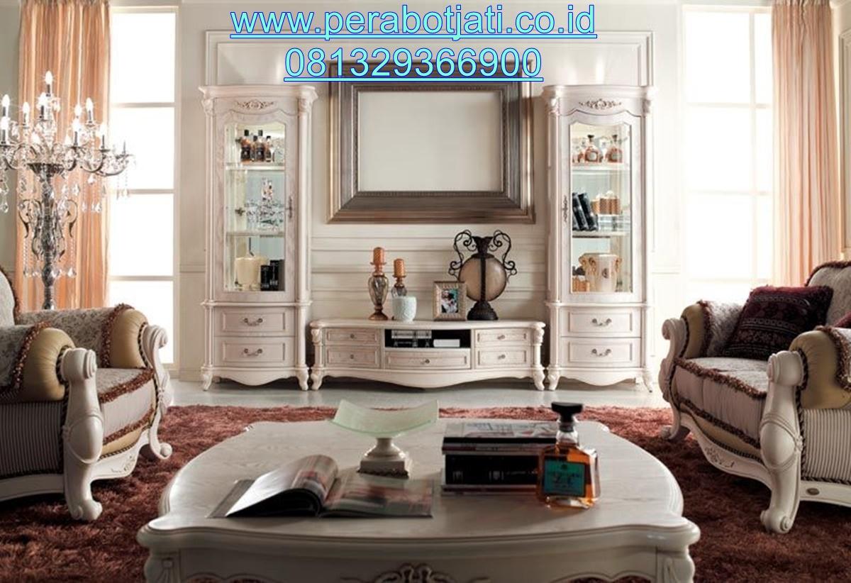 Set Bufet Tv Putih Modern Ruang Keluarga