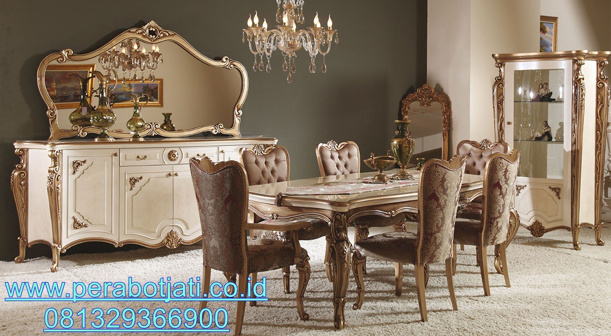 Set Meja Makan 6 Kursi Mewah dan Elegan