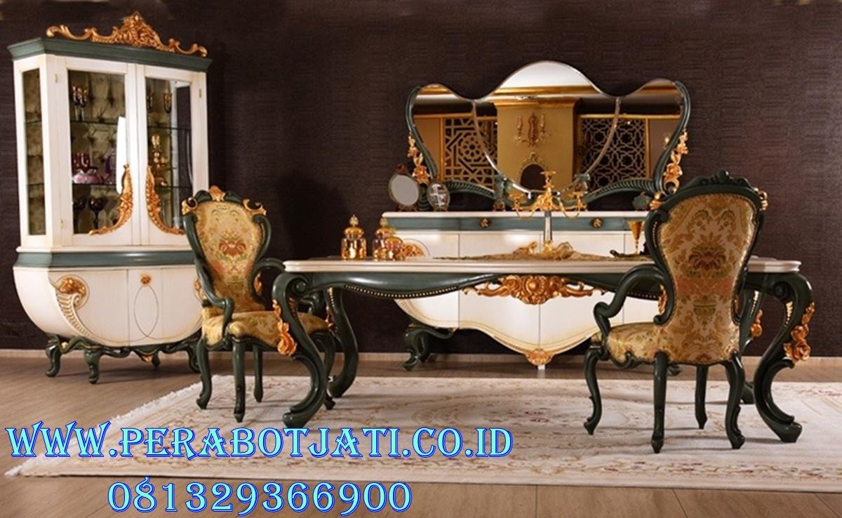 Set 6 Kursi Makan White Gold Ukiran Klasik Victoria