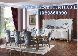 8 Kursi Makan Set Klasik Minimalis Ukir Arabian
