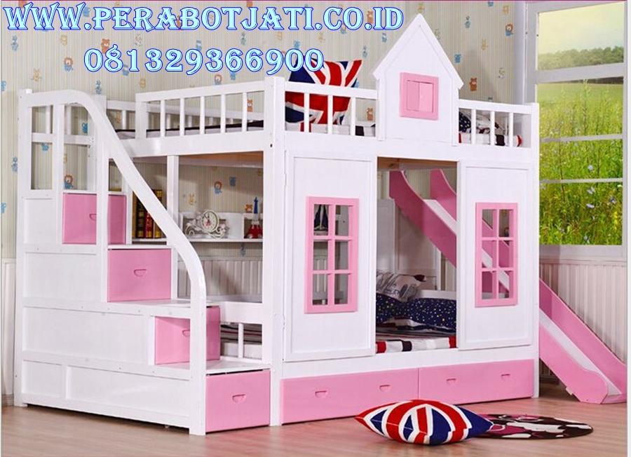 Tempat Tidur Tingkat Bentuk Rumah Dengan Prosotan Pink