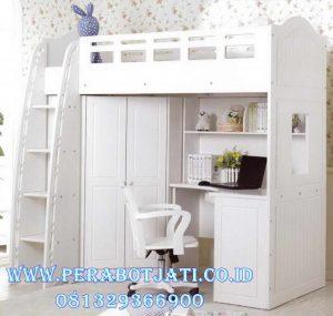 Tempat Tidur Tingkat Putih With Lemari Pakaian