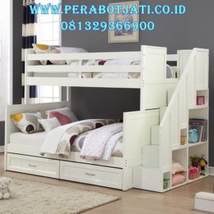 Ranjang Tingkat Putih Murah Furniture Jepara