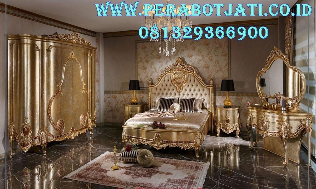 Furniture Ranjang Kamar Ukir Pengantin Full Gold Tania