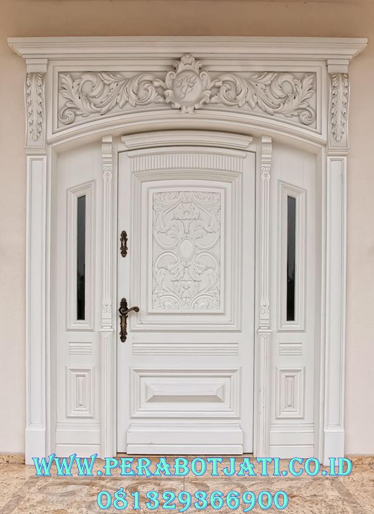 Pintu Kusen Klasik Putih Duco Ukiran Mewah