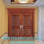 Daun Pintu Double Klasik Ukir Jepara Kombinasi Architrave