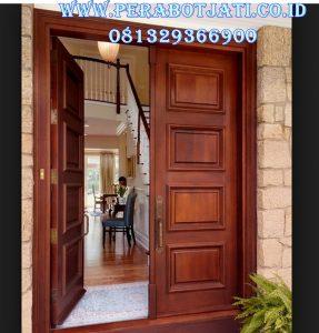 Kusen Pintu Mewah Panel Kayu Jati Kupu Tarung