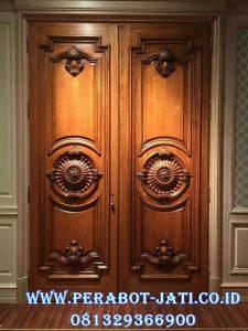 Pintu Kupu Tarung Kayu Jati Mewah Ukir